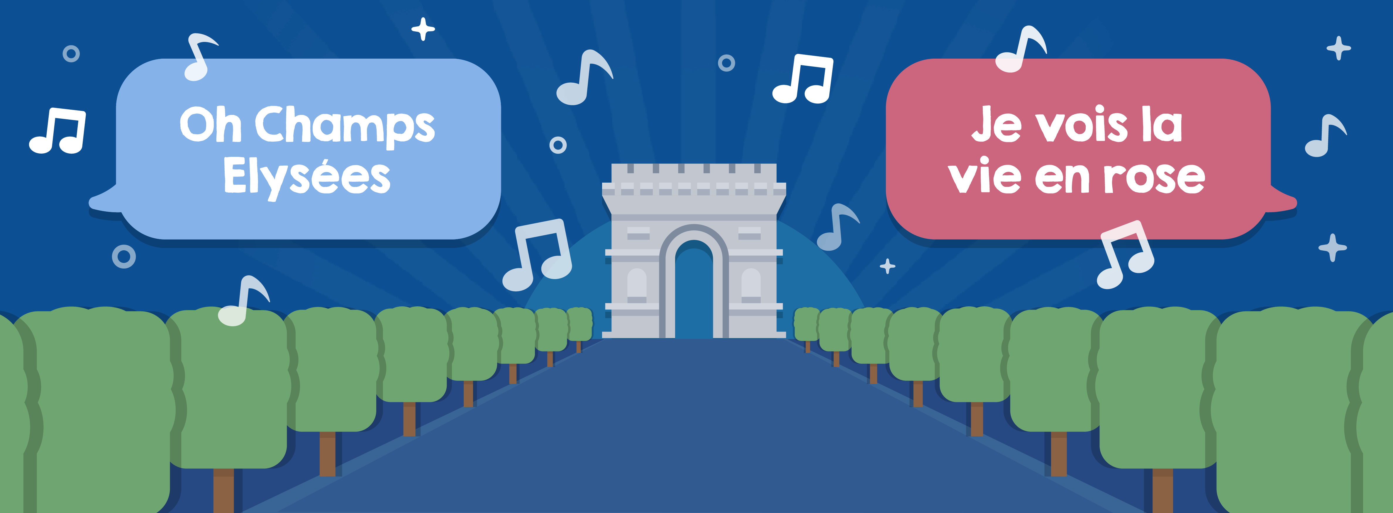 Popular French songs include 'Oh Champs Elysées' and 'La vie en rose'