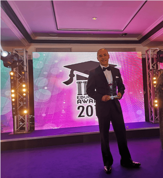 FlashAcademy® CEO Veejay Lingiah with the Education Awards 'Education Resource Provider of the Year' Award