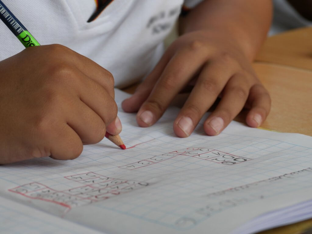 Image of child doing math exercise