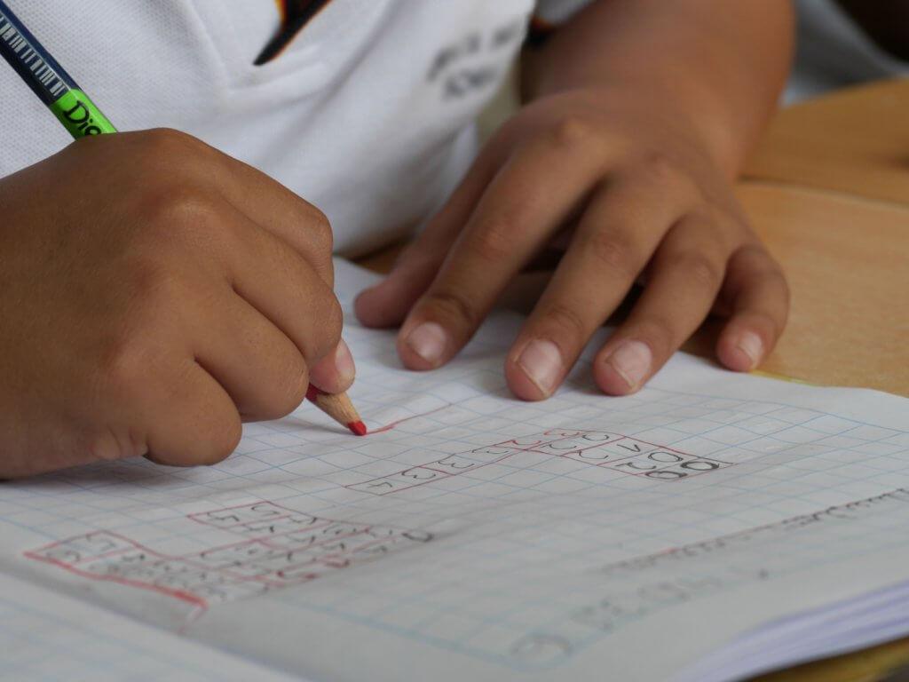 Image of child doing math exercise